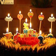 5 pçs dos desenhos animados vela decoração do bolo dinossauro/unicórnio/flamingo/carro festa de aniversário suprimentos presentes de aniversário para crianças favor meninos meninas