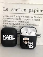 Marca de moda designer karls tpu silicone bluetooth airpod caso para airpods 2 airpods1 pro 3 macio fosco preto capa
