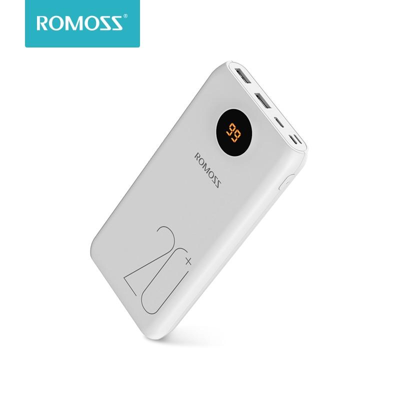 20000 мАч ROMOSS SW20 Pro портативное зарядное устройство Внешний аккумулятор QC3.0 Быстрая зарядка со светодиодный дисплеем для телефонов и планшетов