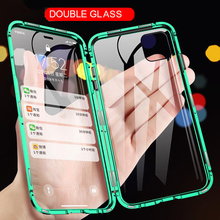 Magnetic Metal Phone Case For iPhone 11 Pro Max Case For iPhone X XS Max XR 6 6S 7 8 Plus 360 Double Side Tempered Glass Cover anti peep magnetic phone case for iphone 11 pro max 11 pro 11 double sides glass metal cover for iphone xs max x xr 6s 7 8 plus
