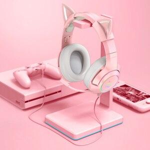 С милыми кошачьими ушками, для девочек наушники Gaming Headset проводные наушники 7,1 объемное звучание музыки стерео наушники С микрофоном светод...