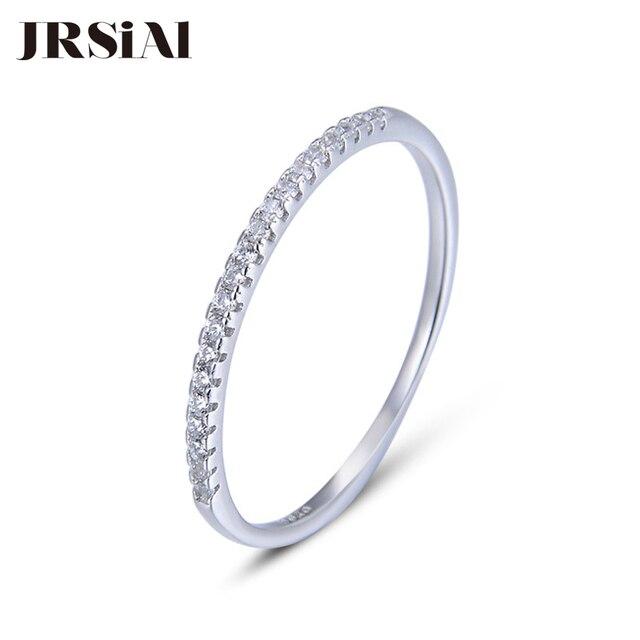 JRSIAL 925 เงินสเตอร์ลิงเครื่องประดับ Zircon แหวนแฟชั่นแหวนแคบบางแหวน