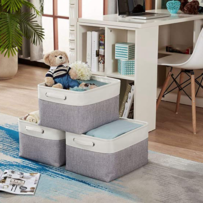 3Pcs Storage Basket Bin Linen Fabric Built-in Soft Lining Collapsible Storage Organizer with Handles for Nursery Shelf