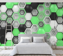 Space expansion hexagon geometric mural for living room bedroom sofa KTV background decoration self-adhesive PVC wallpaper(China)