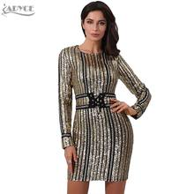 ADYCE 2019 Winter Luxe Lovertjes Celebrity Avond Landingsbaan Party Dress Gold O-hals Lange Mouw Gestreepte Vrouwen Bodycon Club Jurk(China)