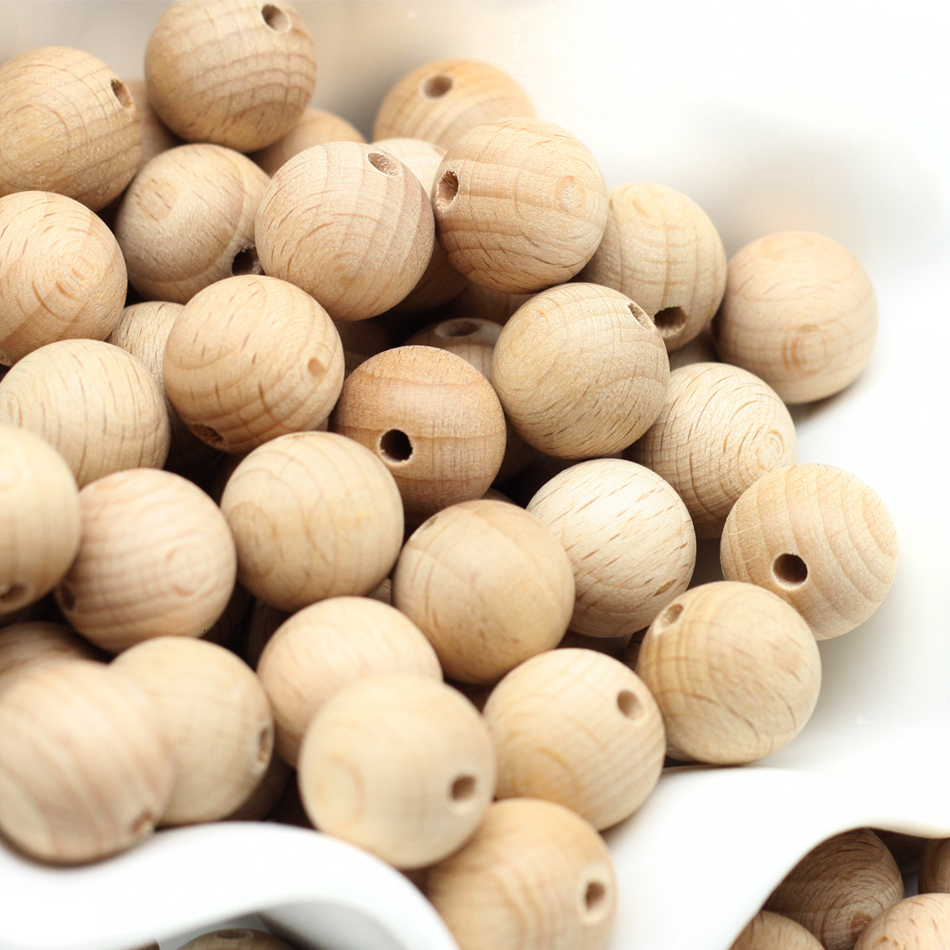 200pcs Beech Wood Wooden Beads Natural Funny Dummy Baby Products Speenclip Soother Beaded Pacifier Clip Diy