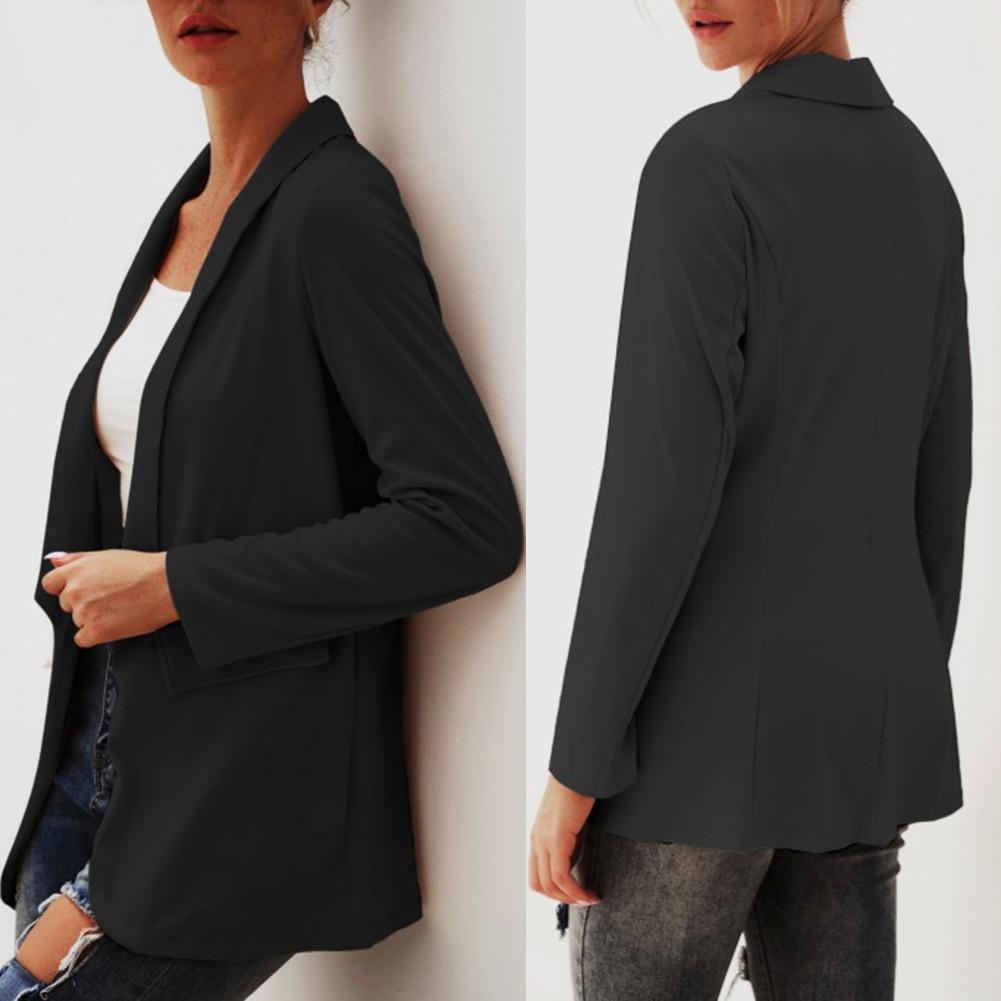 Women Autumn Windbreaker Formal Lapel Small Suit Sleeve Long Jacket Cardigan Trench Coat Autumn Women Jackets