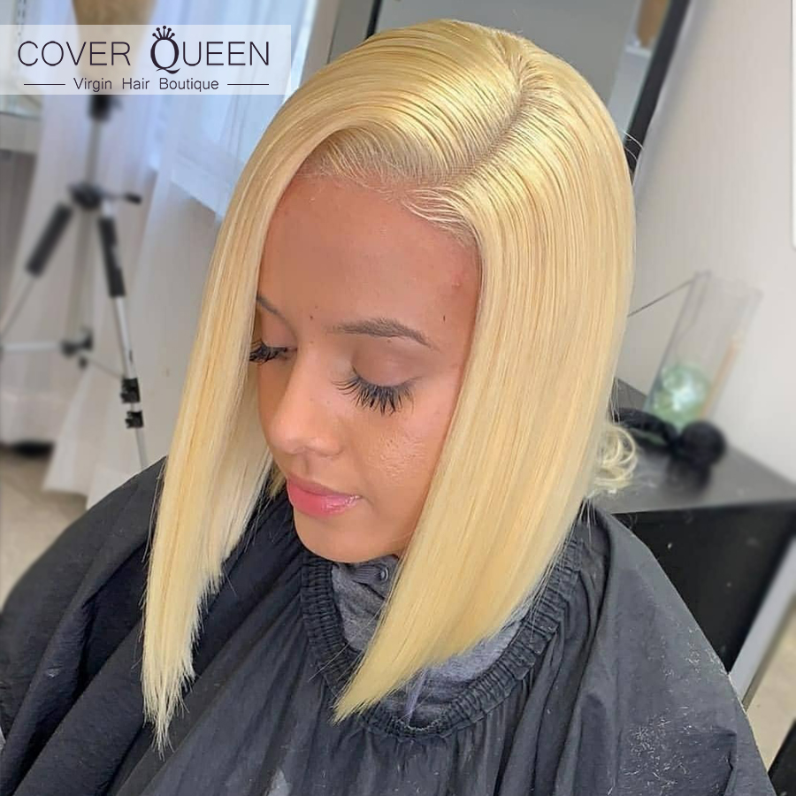13x6 Short BOB Brazilian Blonde Lace Front Human Hair Wigs For Black Women Ombre 1b 613 Lace Frontal Wig HD Transparent Lace Wig