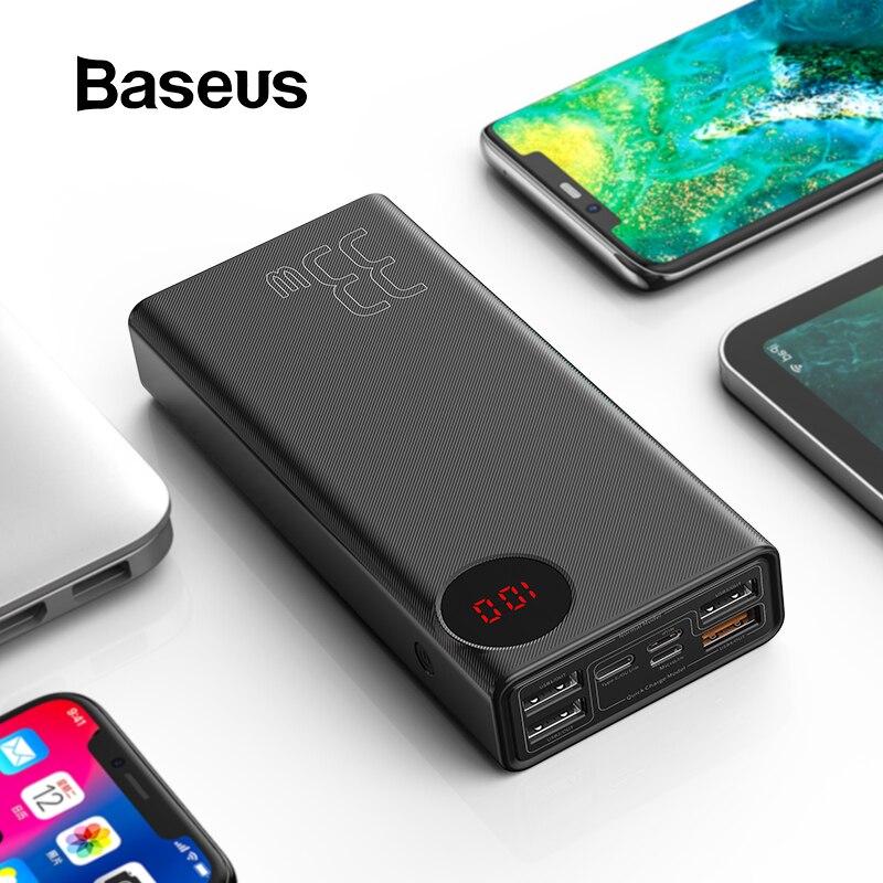 Baseus 30000mAh batterie externe USB type-c PD Charge rapide pour iPhone 11 Pro Max Samsung Charge rapide 3.0 Powerbank batterie externe