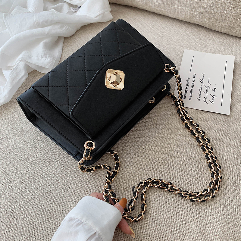 Chain PU Leather Crossbody Bags For Women 2020 Fall Solid Color Small Shoulder Messenger Bag Female Elegant Handbags And Purses