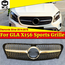 Diamonds Style grille grill X156 GLA45 look ABS Silver Fits For Benz GLA Class GLA180 GLA200 250 Front grills without Sign 14-16