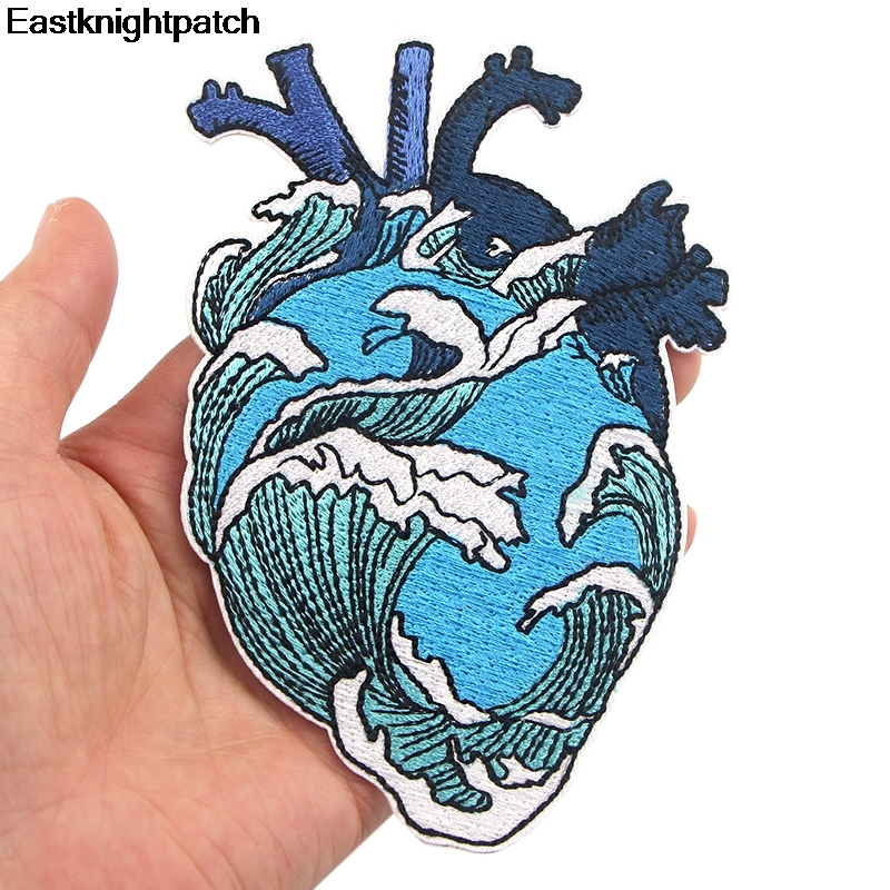 Patch Iron Badge Sew On off Patches transfers applique Wave Embroidered Kanagawa