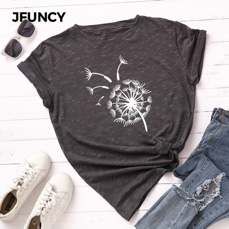 JFUNCY Plus Size Women Summer T-Shirt 100% Cotton Short Sleeve Female T Shirt Flying Dandelion Printed Woman Tees Lady Tops