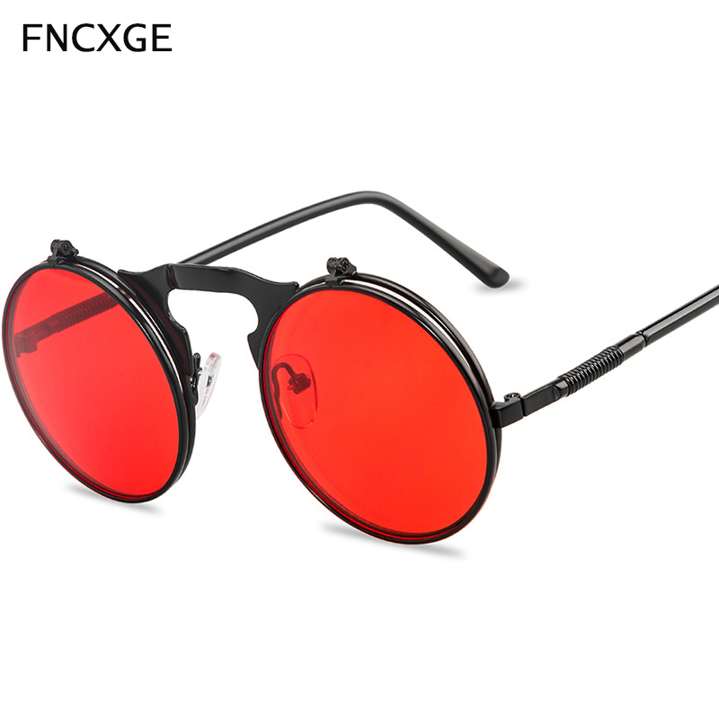 Vintage Men Sunglasses Women Retro Punk Steampunk Flip Up Round Sun Glasses Metal Frame Colorful Lens High Quality UV400 Eyewear
