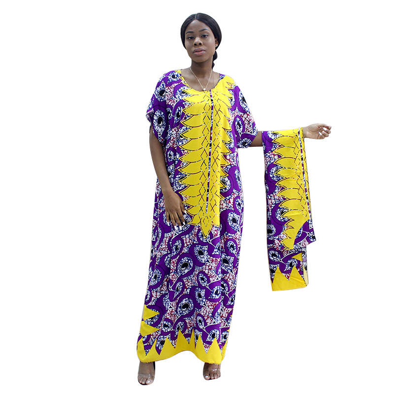 New African Clothing Tranditional Long  Loose Dress Vintage Dashiki Caftan Ethnic African Dresses For Women With Scarf