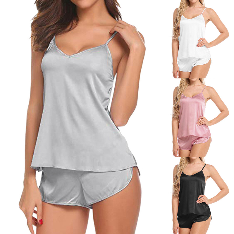 Vertvie Women Sexy Pajamas Set Soild Simulation Silk Thin Pajamas Set V-neck Camisole Sleeveless Top and Shorts Female Pajamas(China)