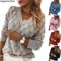 Женский трикотажный свитер с перьями, Повседневный пуловер с длинным рукавом и V-образным вырезом, Осень-зима 2020