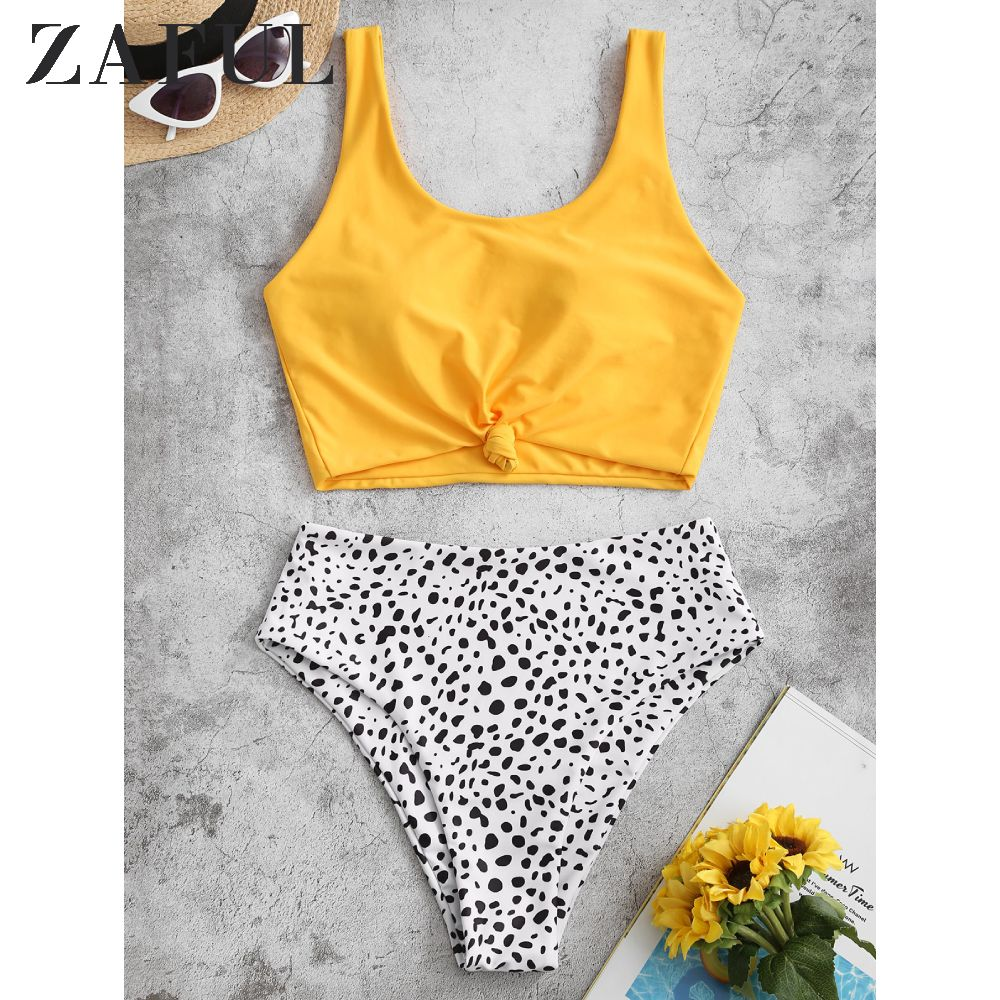 ZAFUL Knot Dalmatian Print Tankini Swimsuit Leopard Dot Mix And Match Shoulder Strap Suit High Waisted Removable Padded Swimsuit