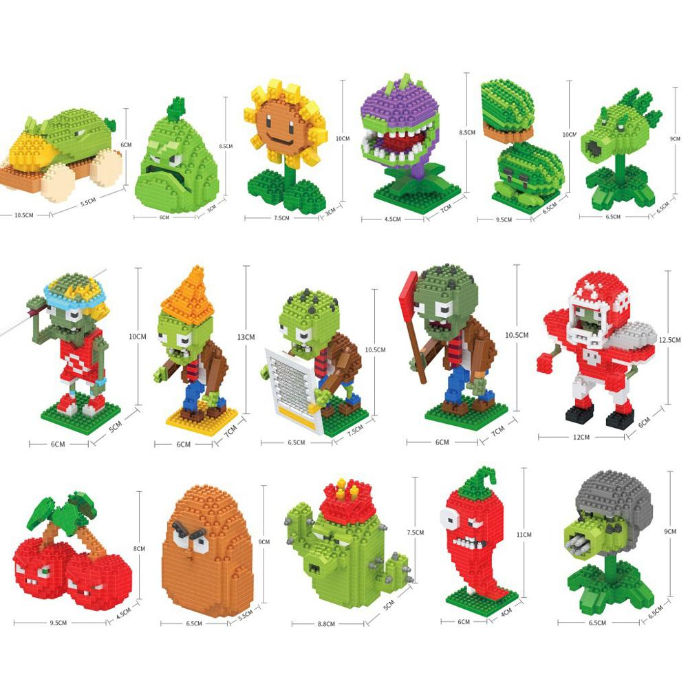 Jogo dos desenhos animados planta vs zumbi brinquedos micro diamante bloco peashooter chomper jalapeno alto porca girassol cereja bomba milho nanobrick