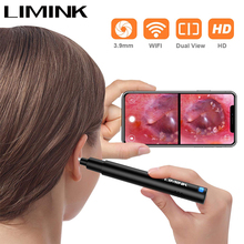 LIMINK 3.9mm Wireless Otoscope with Dual View HD Ear Camera WiFi Ear Scope with LED Lights Ear Endoscope for Kids and Adults