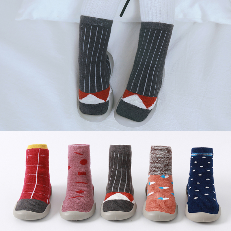 Children Shoes Anti-slip Soft Sole Shoes Socks  Baby Indoor Shoes Children Toddler Shoes Thickening Terry Socks Shoes