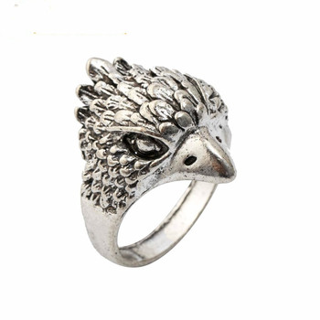 VAKKI Punk Rock Owl Finger Ring For Men Cool Silver Color Retro Anel Masculino Knuck Ring For Party Jewelry Gift image