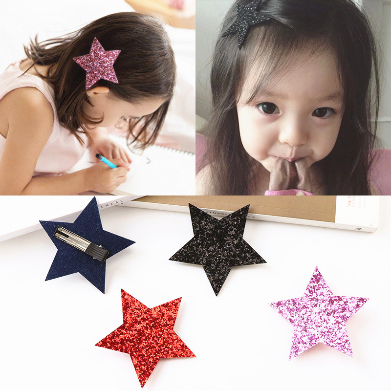 Hairpins Children Lovely Shiny Glitter Star Cartoon Hairgrips Gold Color Baby Girls Clip Hair for Kids Accessories Barrettes
