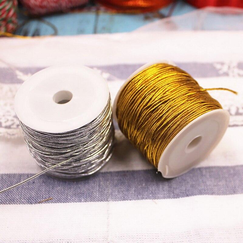 25 метров, веревка, золотистый/серебристый шнур, шнур, веревка, лента, бирка, линия, браслет, изготовление, нескользящая одежда, подарок