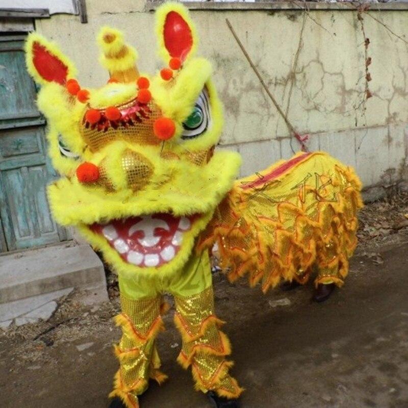 Tenue de danse de Lion chinois Double adulte Costume de danse de Lion laine fait à la main accessoires de scène vêtements de danse de Lion