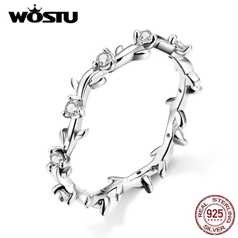 WOSTU Genuine 925 Sterling Silver Branch With Clean Zircon Rings For Women Fashion Jewelry Hot Sale 2019 New Arrival CQR625