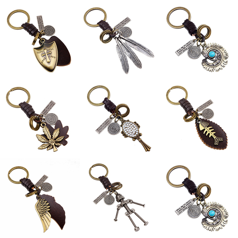 Mechanical Punk Keyring Handmaid Genuine Leather Stylish Keychain Unique Leather Robert Trinket Gifts For Woman Man Accessories Pakistan