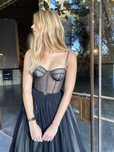 Smileven Modern Black Dotted Tulle Short Prom Dresses Spaghetti Straps Evening Gowns Sweetheart Corset Prom Party Gowns 4