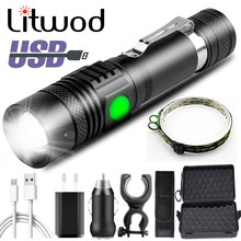 XP-L V6 XM-L2 U3 T6 USB Rechargeable Led lampe de poche en aluminium Zoom étanche torche 18650 batterie vélo lanterne vélo lumière 10W
