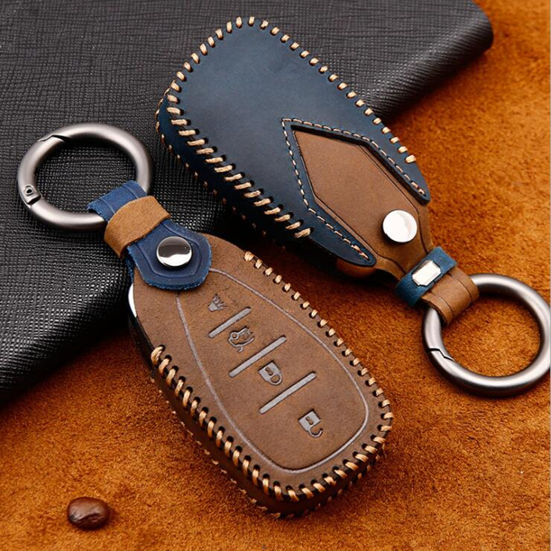 Genuine Leather Hard Smart Key Fob Case Cover Chain For Chevrolet Holden Malibu Cruze Trax Camaro Volt Bolt EV Equinox Traverse