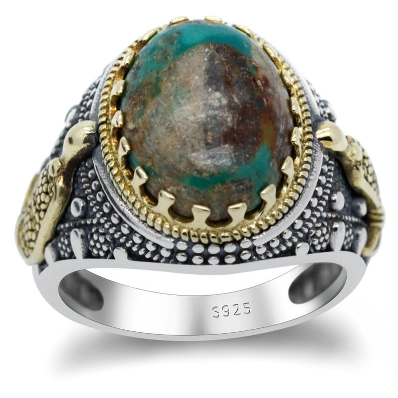 S925 sterling silber natürliche türkis stein männer der ring, natürliche grün Türkischen edelstein ring für männer schmuck|Ringe|   - AliExpress