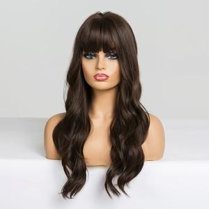 Image 3 - EASIHAIR długie ciemne brązowe damskie peruki z grzywką Water Wave żaroodporne peruki syntetyczne dla czarnych kobiet włosy afroamerykańskie