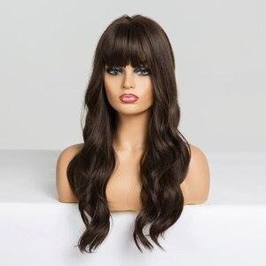 Image 3 - Easihairロングダークブラウンの女性のかつら前髪と水波耐熱合成かつら黒人女性のためのアフリカ系アメリカ人髪