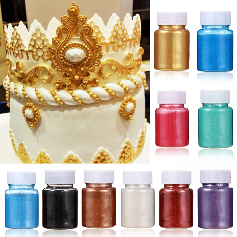 5/15g Edible Gold Powder Mousse Cake Fondant Macaron Chocolate Decoration Glitter Powder Silver Pearl Powder Baking Color Dust image