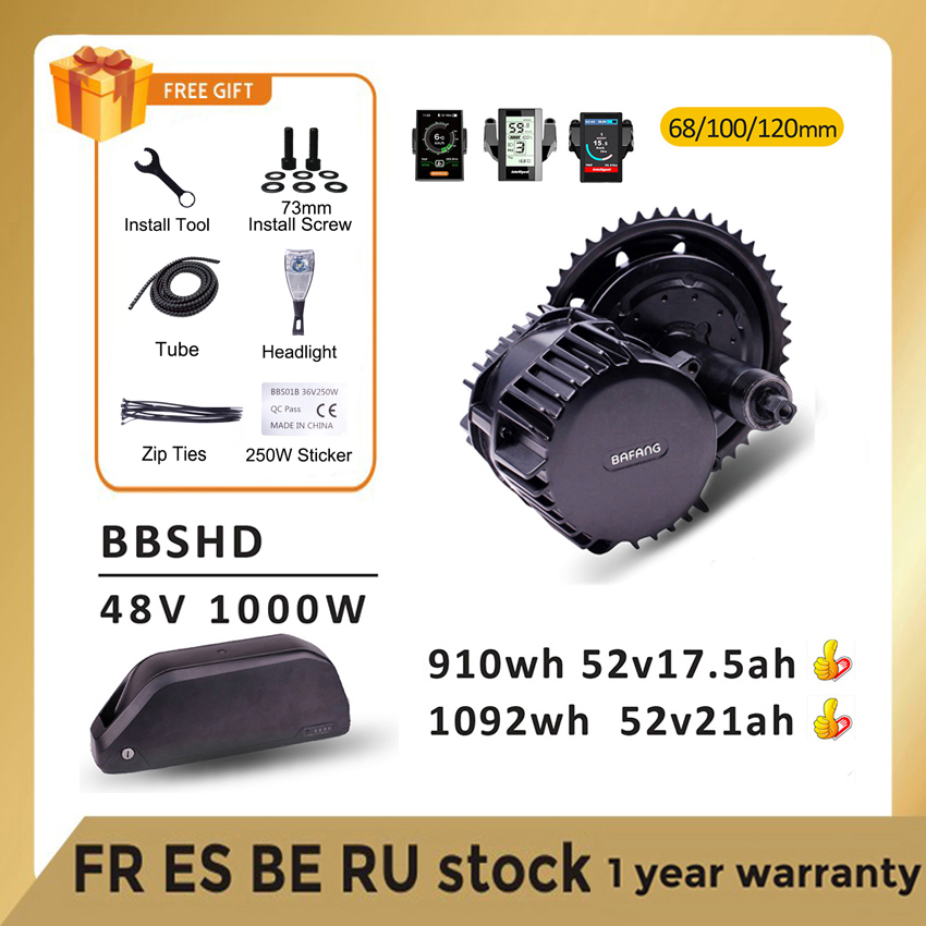 Bafang Motor BBSHD BBS03 48V 52V 1000W Electric Mid Drive Motor Ebike Conversion Kits with 52V17.5AH Samsung Lithium Battery