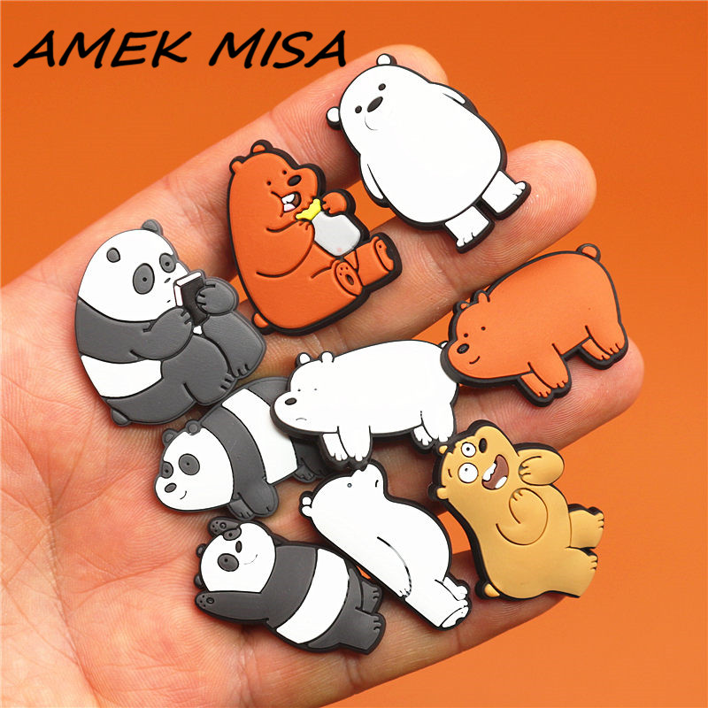 Cartoon Original Shoe Charm Panda Polar Bear Brown Bear Garden Shoe Accessories Buckle Decorations Fit Croc JIBZ Kids Gift X-mas