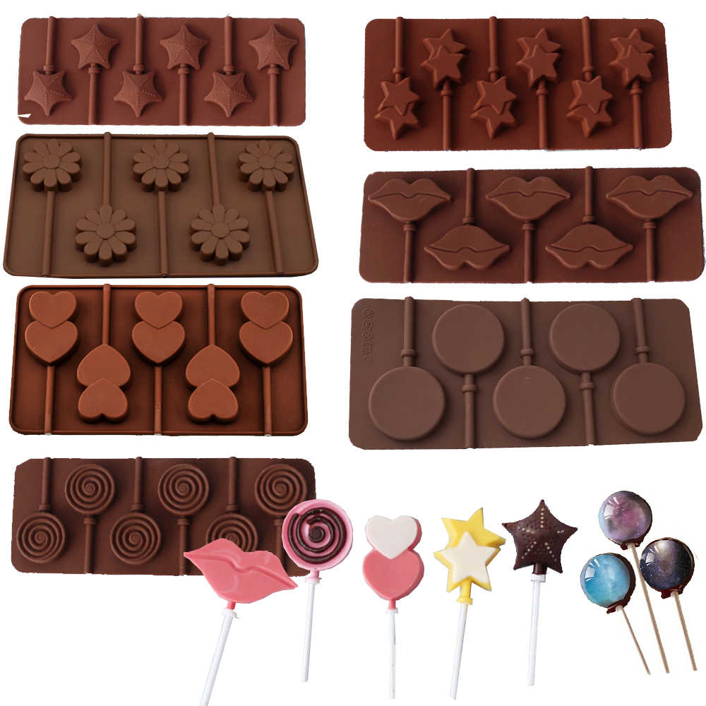 Runde Silikon Candy Lollipop Formen Herz Donut Schokolade Pop Kuchen Form Backform Schokolade Seife Form Kuchen Dekorieren