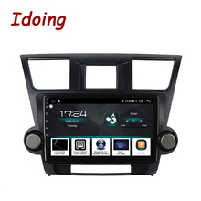 "Idoing 10.2 ""4G + 64G araba radyo multimedya Android oyuncu navigasyon gps Toyota Highlander için 2 XU40 2007 2014 NO 2 din DVD"