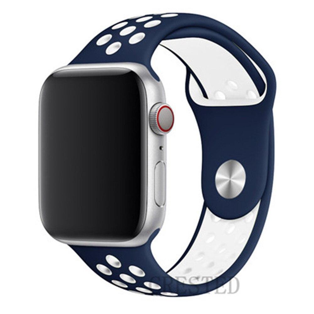 Спортивный ремешок для apple watch band 44 мм/40 мм apple watch 5 4 3 band iwatch band 5 42 мм/38 мм correa браслет ремень аксессуары для часов - Цвет ремешка: blue white 4