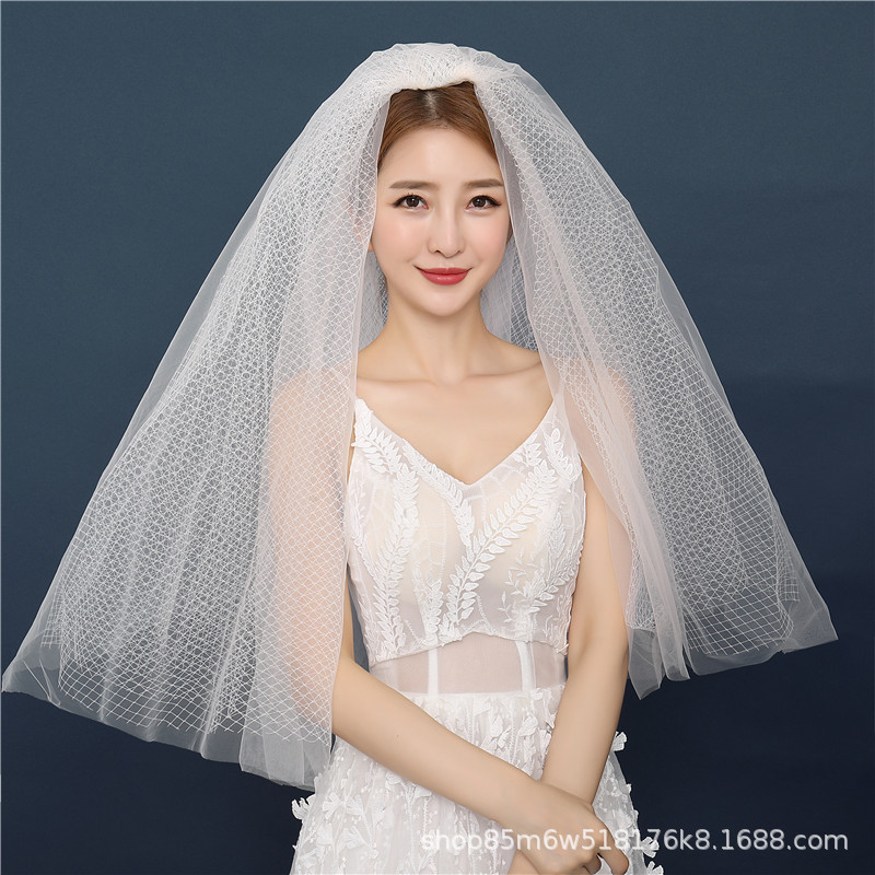 New Style Rhombus Large Mesh Belt Comb-Covered Face Champagne Color Veil Modeling Trip Shoot Puffy Headdress Bride Veil