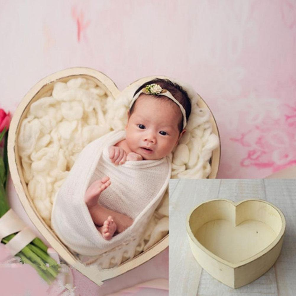 Photography Love Bed Tub Newborn Baby Photography Love Shape Bed Props Small Wooden Baby Photo Props Crib For Baby Boys Girls