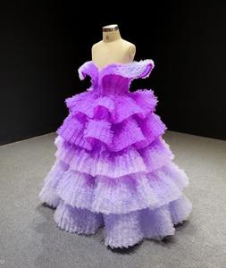 Image 4 - J66905 Jancember Blume Mädchen Kleider 2020 Lila V Neck Cap Sleeve Tiered Mädchen Abendkleider платье для девочек communie jurk