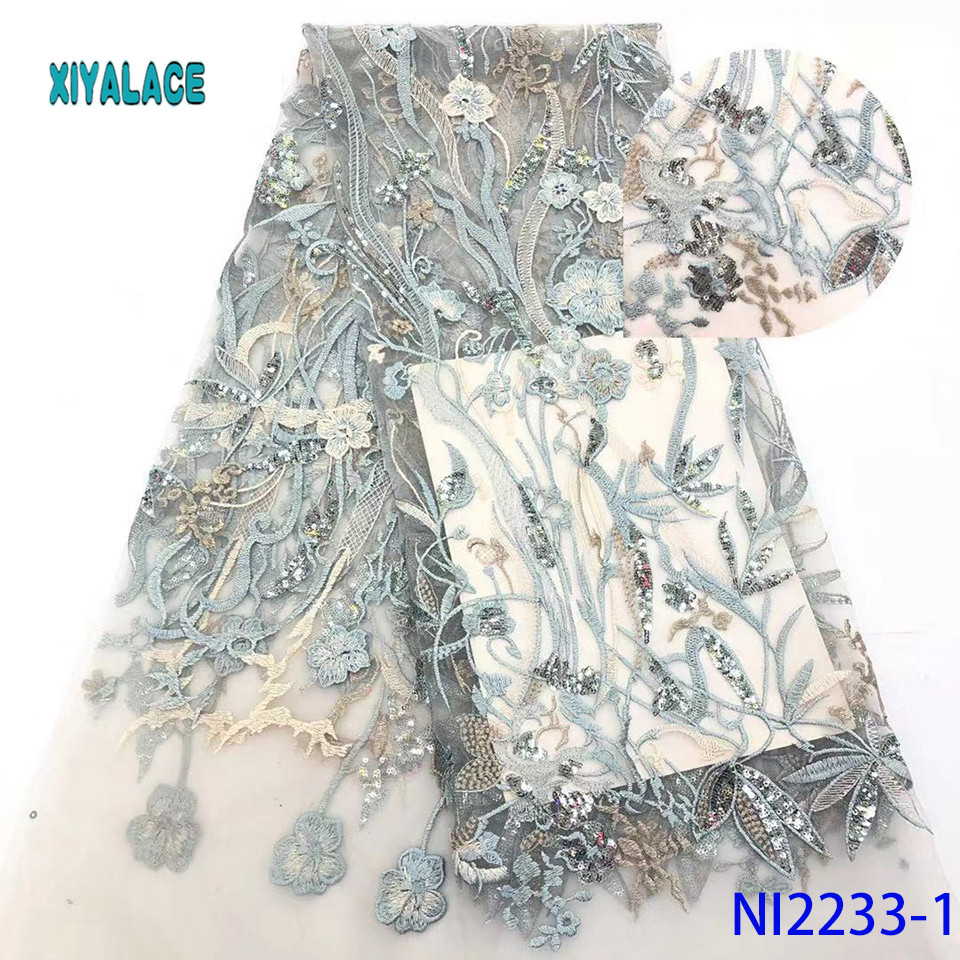African Lace Fabric Latest High Quality 2019 Lace Embroidery French Lace Fabric Bridal Lace For Nigerian Party Dress YANI2233-1