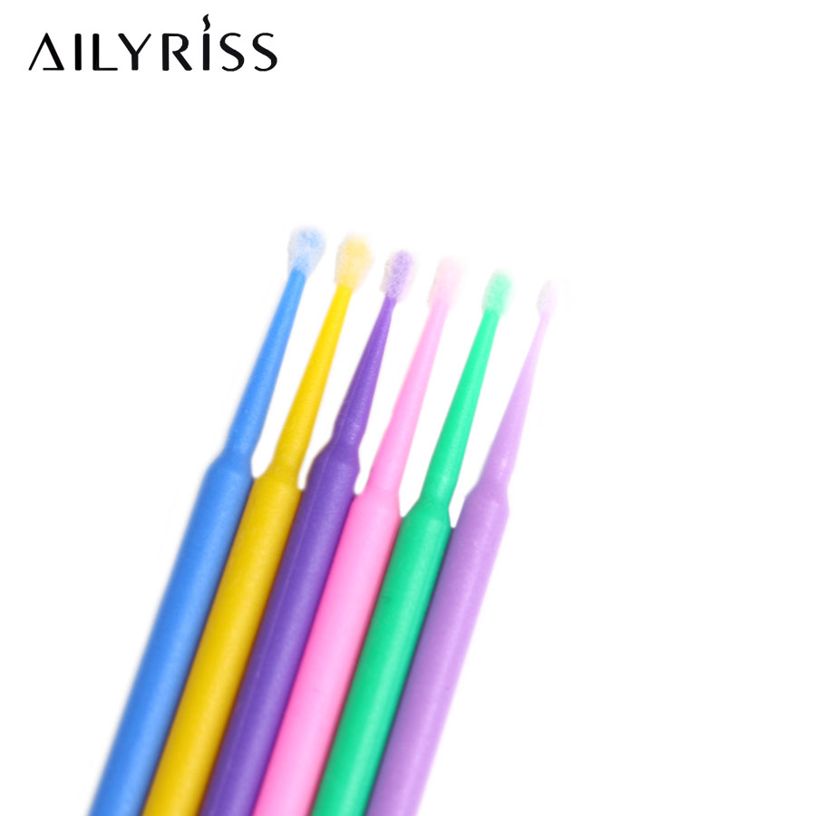 100pcs Micro Brushes Eye Lash Glue Brushes Eyelashes Extension Disposable Applicators Sticks Makeup Tools Glue Cleaning Tool