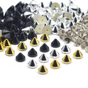 Image 1 - KALASO 100 مجموعات الفضة الذهب الأسود مطلي الاكريليك مخروط فاسق ترصيع المسامير المسامير للأحذية حقيبة الملابس الديكور 6.4x5.1mm