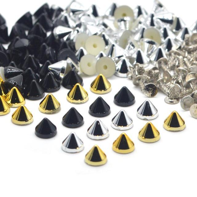 KALASO 100 مجموعات الفضة الذهب الأسود مطلي الاكريليك مخروط فاسق ترصيع المسامير المسامير للأحذية حقيبة الملابس الديكور 6.4x5.1mm